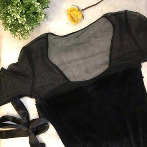 Necessary Objects Velvet Dress with Sheer Detail